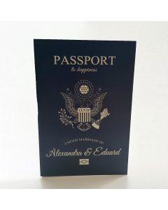 Invitatii nunta luxury tip pasaport